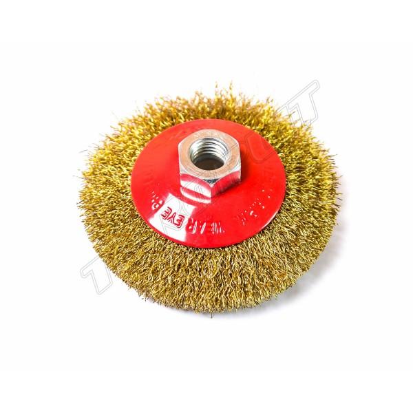 Щетка конусная 100мм гофрированная проволока М14 WERK WE107500