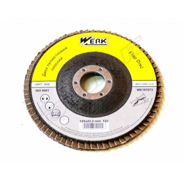 Диск лепестковый плоский 125х22,2 зерно А80,Т27 WERK